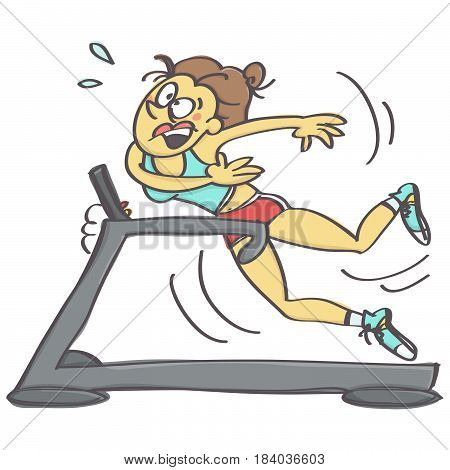 Funny vector cartoon of woman falling while jogging on running machine