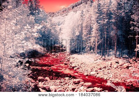 a toned infrared shot of a river flowing through a fores in the austrian alps.
