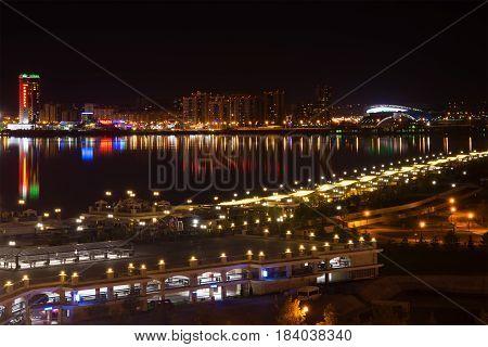 KAZAN, RUSSIA - MAY 01, 2016: Night panorama of the Kazanka river. Modern Kazan