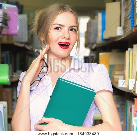 Girl In The Library Between Racks With Books Stares, A Beautiful Blonde With Glasses Gets Knowledge