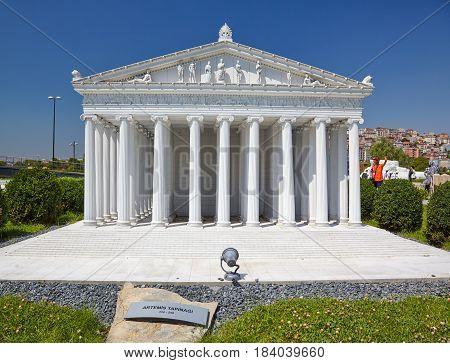 Miniaturk, Istanbul. A Scale Model Reconstruction Of Temple Of Artemis In  Ephesus, Izmir Province.
