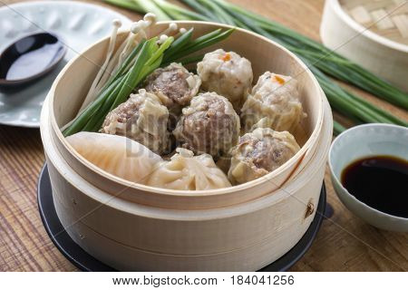 Traditional Chinese Wan Tan Soup as close-up