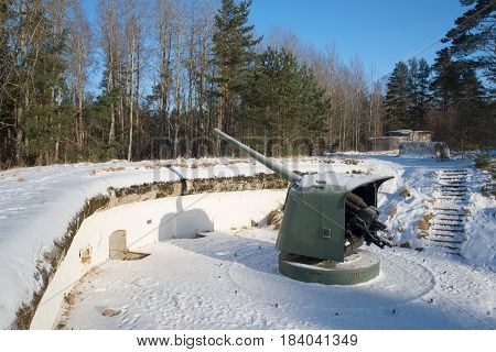 KRASNOFLOTSK, RUSSIA - FEBRUARY 08, 2017: The weapon of the Great Patriotic War period on the artillery position. Fort Krasnaya Gorka. Leningrad region