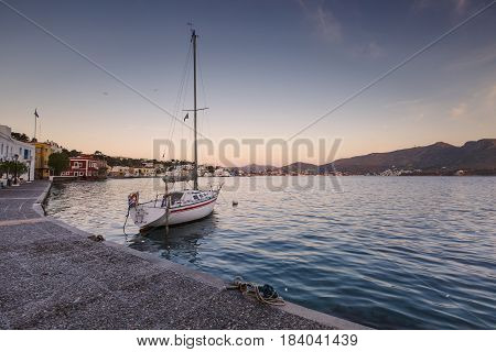 Sail boat in Agia Marina village on Leros island in Greece early in the morning.