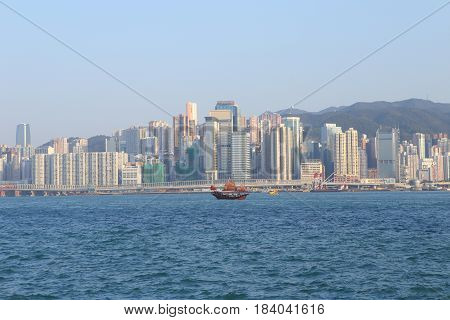 Hongkong skyline day Hong kong view from victoria harbour