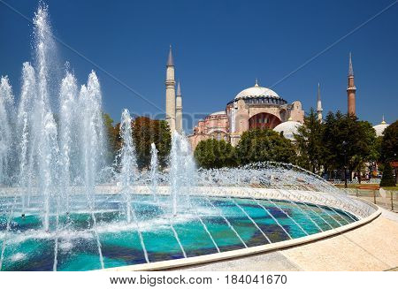 The Fontain  In Sultan Ahmet Park With Hagia Sophia In The Background