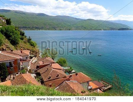 Impressive landscape of Lake Ohrid waterfront, Macedonia (FYROM)