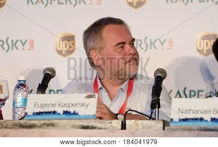 JERUSALEM ISRAEL - NOVEMBER 6 2014: Kaspersky Lab CEO Eugene Kaspersky at press conference Formula One Presentation in Jerusalem. Israel
