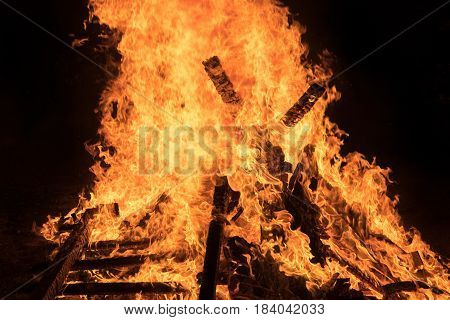 Closeup  Bonfire At Jewish Holiday Of Lag Baomer, The Day Of Commemorate The Death Of Rabbi Shimon B