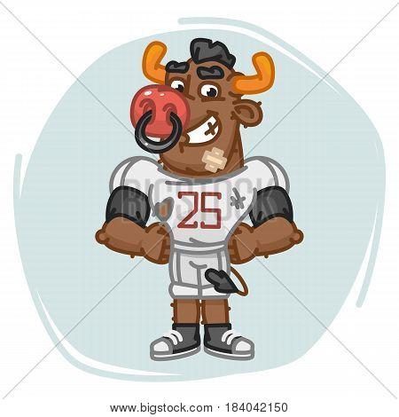 Bull Football Player Holding Hands On Waist