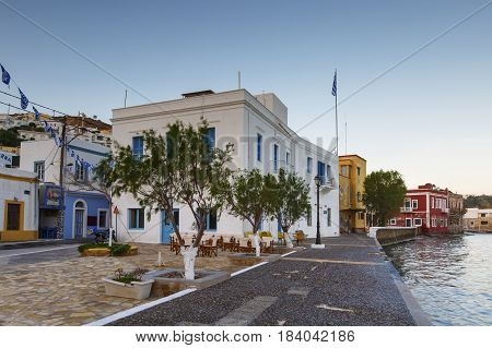 AGIA MARINA, GREECE - MARCH 25, 2017: Seafront of Agia Marina village on Leros island in Greece early in the morning on March 25, 2017.