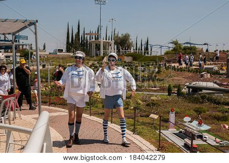 The Funny Actors Play Typical Israeli Mens At Independence Day In Mini Israel - A Miniature Park Loc