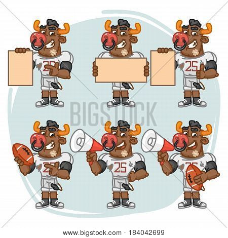 Character Set Bull Football Player Holds Megaphone Ball Paper