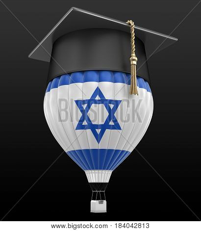 3D Illustration. Hot Air Balloon with Israeli Flag and Graduation cap. Image with clipping path