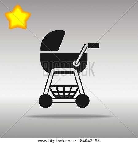 stroller black Icon button logo symbol concept high quality on the gray background