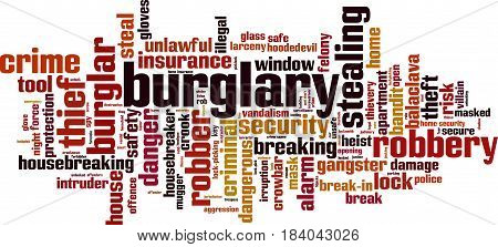 Burglary word cloud concept. Vector illustration on white