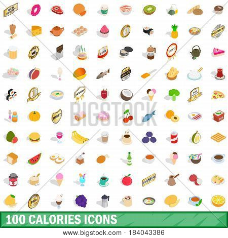 100 calories icons set in isometric 3d style for any design vector illustration