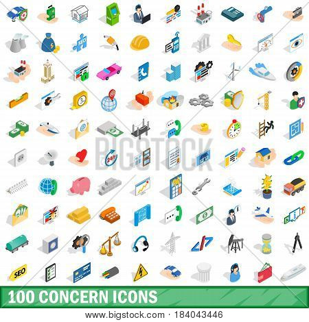 100 concern icons set in isometric 3d style for any design vector illustration