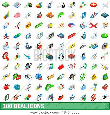 100 deal icons set in isometric 3d style for any design vector illustration