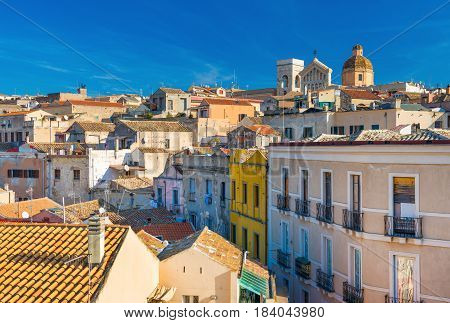 Cagliari - Sardinia, Italy: Cityscape of the old city center in the capital of Sardinia, wide angle view from the rooftop