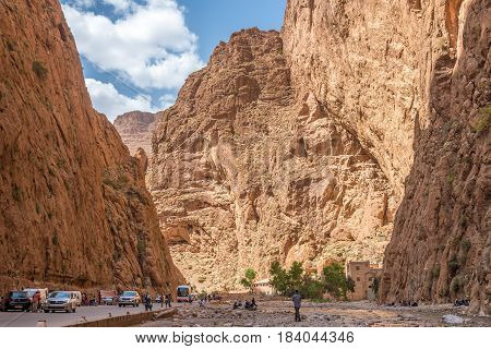 TODGHA GORGE, MOROCCO - APRIL 3,2017 - Todgha Gorge - Canyon in Atlas mountains of Morocco. Todgha Gorge is a canyon in the eastern part of the High Atlas Mountains in Morocco