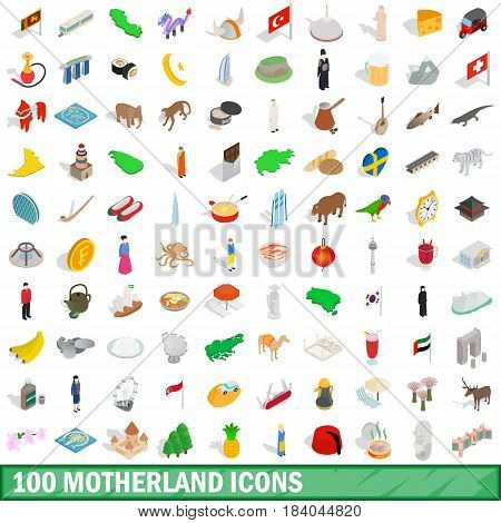 100 motherland icons set in isometric 3d style for any design vector illustration