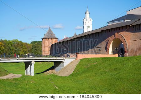 A sunny October day at the entrance to the Kremlin of Veliky Novgorod. Russia