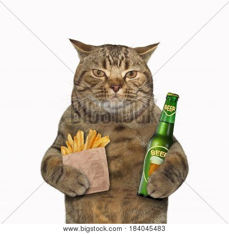 The cat is holding a bottle of beer and a paper bag of fried potatoes. White background.