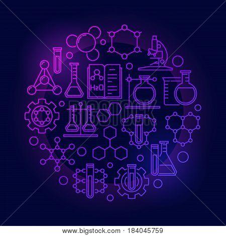 Chemistry lab colorful illustration. Vector round biotechnology and molecular biology concept outline symbol on dark background