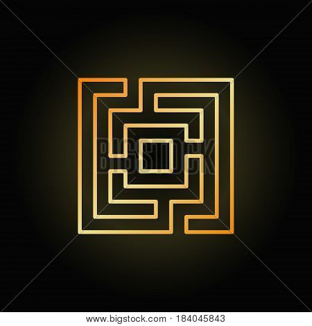 Gold square maze or labyrinth icon - vector colorful business concept symbol on dark background