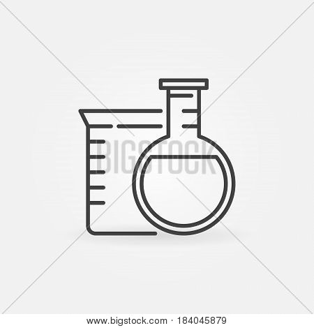 Laboratory glassware icon - vector chemistry concept symbol made with beaker and flask in thin line style