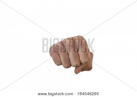 Males hand with a clenched fist against white background