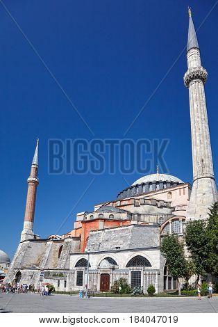 ISTANBUL TURKEY - JULY 12 2014: Hagia Sophia with two minarets Istanbul Turkey