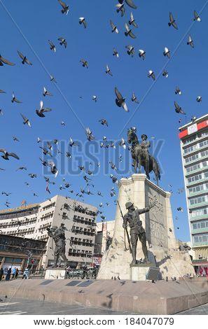ANKARA, TURKEY - 27 APRIL 2017: The statue of Ataturk in Ulus - Ankara, Turkey
