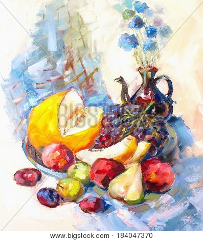 Texture painting oil painting on canvas abstract oil still life fine art impressionism painted color image for wallpaper and backgrounds the artist painting pattern flowers and fruits and vegetables