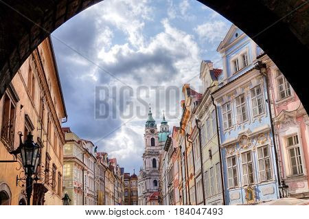 The state of the historical building of the city of Prague in the Czech Republic is suitable as a background