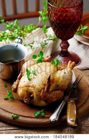Roasted chicken in microwave..style rustic .selective focus