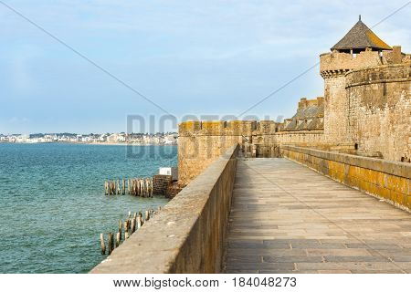 city wall and houses of St. Malo Brittany, France