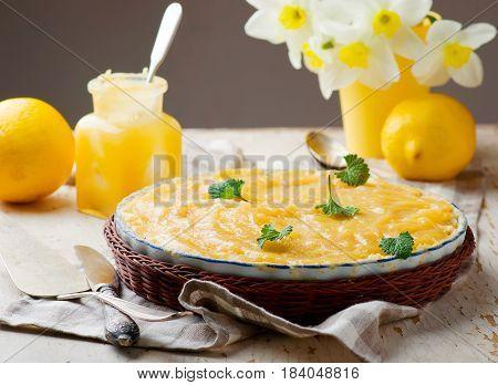 Rhubarb and lemon curd cake.style rustic. selective focus