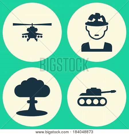 Combat Icons Set. Collection Of Panzer, Chopper, Atom And Other Elements. Also Includes Symbols Such As Mechanism, Oficer, Panzer.
