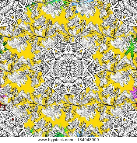 Classic vector white pattern. Pattern on yellow background with white elements. Traditional orient ornament. Classic vintage background.
