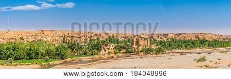 Panoramic view at the Boumalne Dades oasis near Kalaat M Gouna in Rose Valley - Morocco