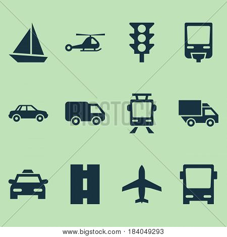 Shipment Icons Set. Collection Of Streetcar, Railroad, Yacht And Other Elements. Also Includes Symbols Such As Road, Aircraft, Cab.