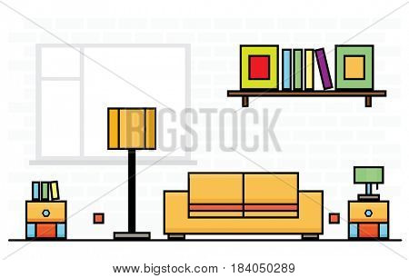 Yellow Sofa with Two Curbstones and Lampshade. Room Interior.