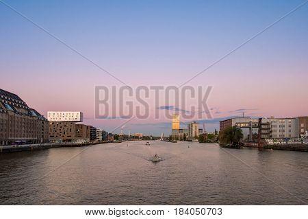 Berlin Skyline -  River Spree Panorama, Boats And Sunset Sky