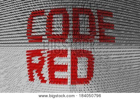 CODE RED in the form of binary code, 3D illustration