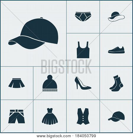 Clothes Icons Set. Collection Of Heel Footwear, Trilby, Sarafan And Other Elements. Also Includes Symbols Such As Tank, Singlet, Underpants.