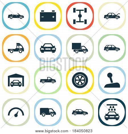 Car Icons Set. Collection Of Wheelbase, Transport Cleaning, Hatchback And Other Elements. Also Includes Symbols Such As Hood, Sports, Repairing.