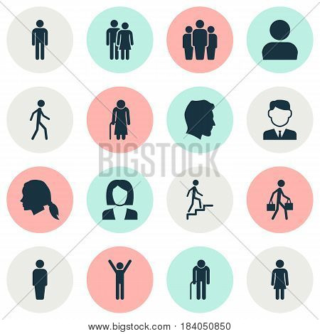 Human Icons Set. Collection Of Male, Old Woman, Ladder And Other Elements. Also Includes Symbols Such As Grandma, Businesswoman, Man.