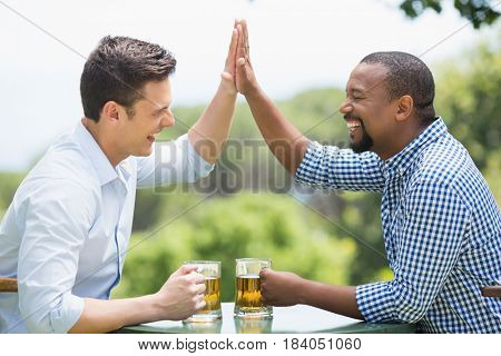 Friends giving high five to each other while having beer in the restaurant